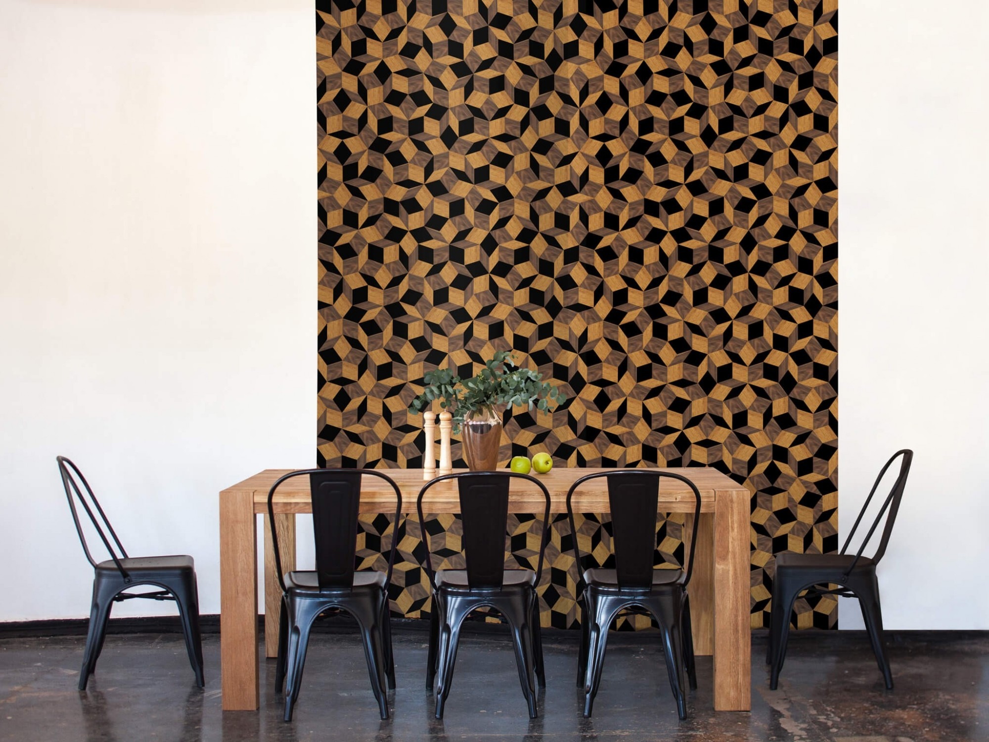 lé de papier peint avec motif géométrique penrose, collé dans une salle à manger, design Ichetkar.