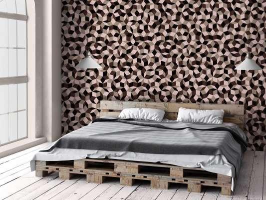 lé de papier peint avec motif géométrique penrose, collé dans une chambre, design IchetKar
