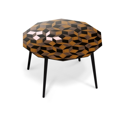 Table à manger Penrose Spring Wood, bois et rose poudré Design IchetKar édition Bazartherapy