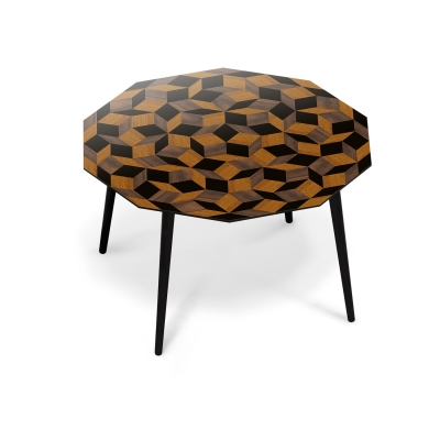 Table à manger ronde Penrose Wood, pour 4 personnes, Design IchetKar édition Bazartherapy