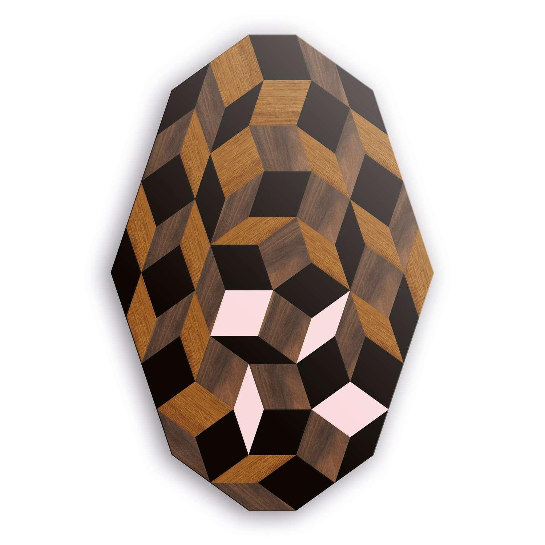 Table basse, motif Penrose Spring Wood, marqueterie de bois et rose poudré, design IchetKar, édition bazartherapy