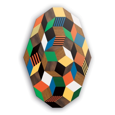 plateau de la table basse Penrose Crazy Wood, géométrie et couleur primaire, design IchetKar, édition bazartherapy