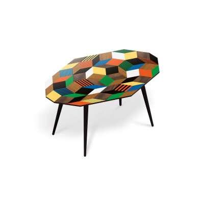 Table basse pour salon, motif Penrose Crazy Wood, géométrique et couleur primaire, design IchetKar, édition bazartherapy