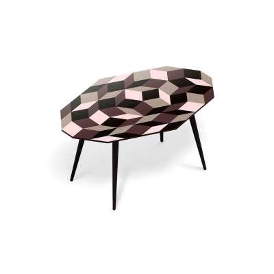 Table basse pour salon, motif Penrose Ice Cream, géométrique et couleur creme glacée, design IchetKar, édition bazartherapy