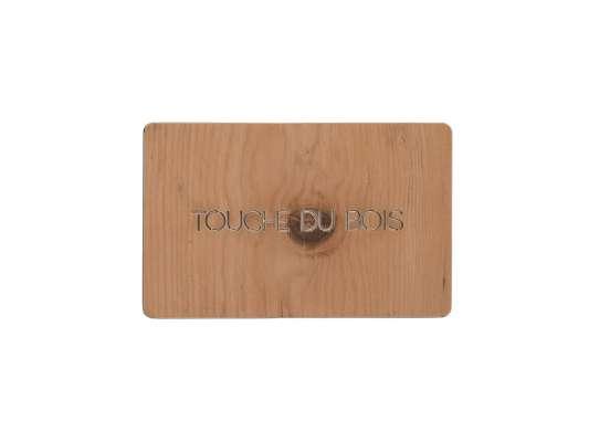 carte porte bonheur en bois a offrir pour souhaiter la bonne fortune et meilleurs voeux touche du bois