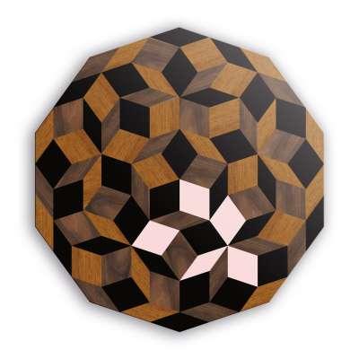 Plateau de la table basse ronde Penrose, marqueterie de bois et touche de rose poudré, design IchetKar, édition bazartherapy