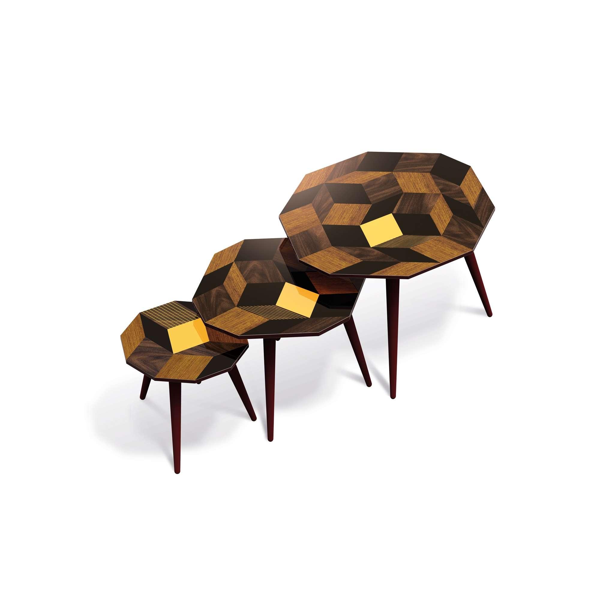 Tables d'appoints gigognes, motif Penrose au couleur d'été Summer Wood, Design IchetKar édition Bazartherapy