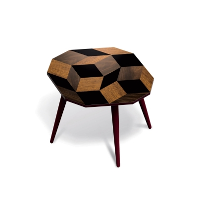 Table d'appoint Wood Medium, motif Penrose, design IchetKar édition Bazartherapy
