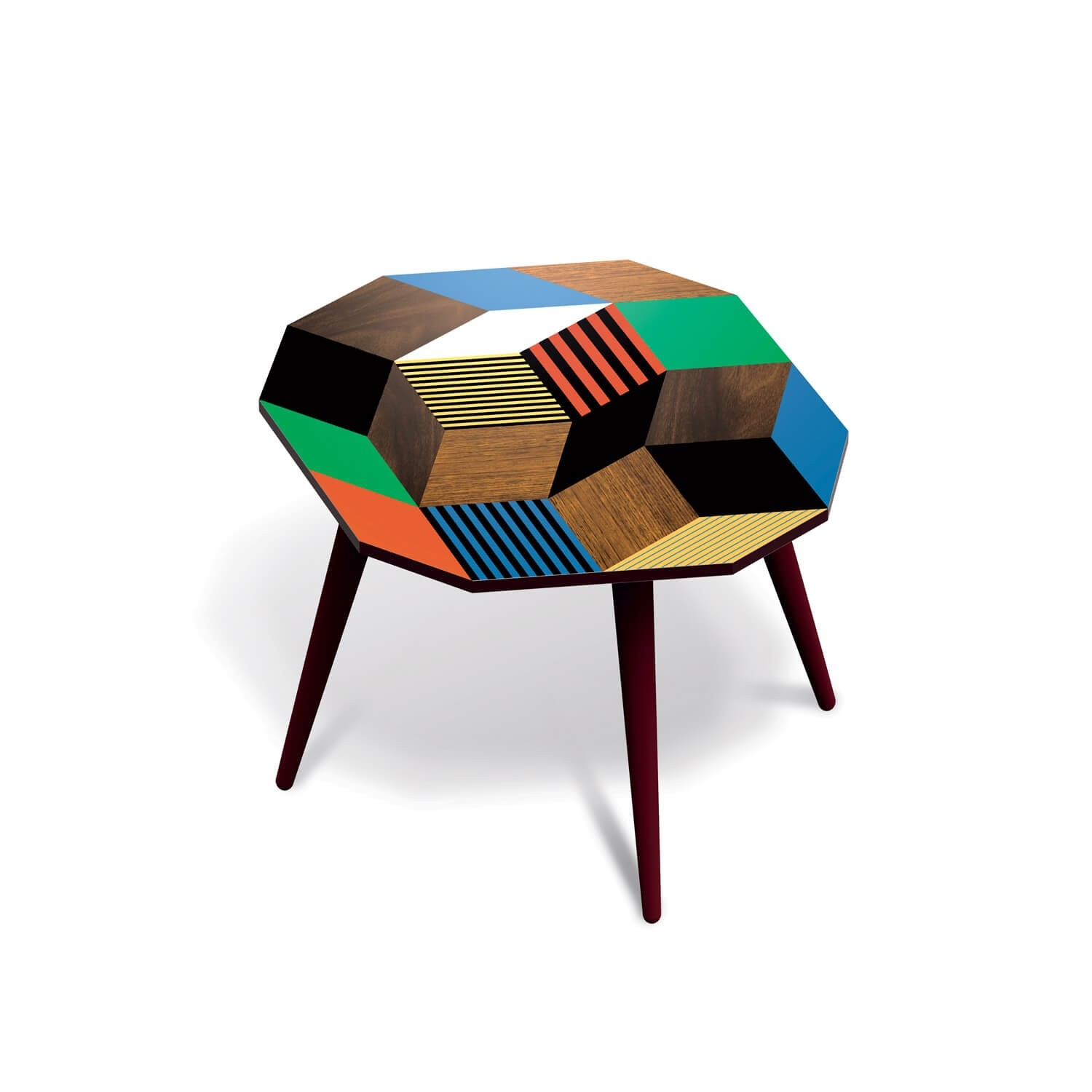 Table d'appoint Crazy Wood Medium, motif Penrose, design IchetKar édition Bazartherapy