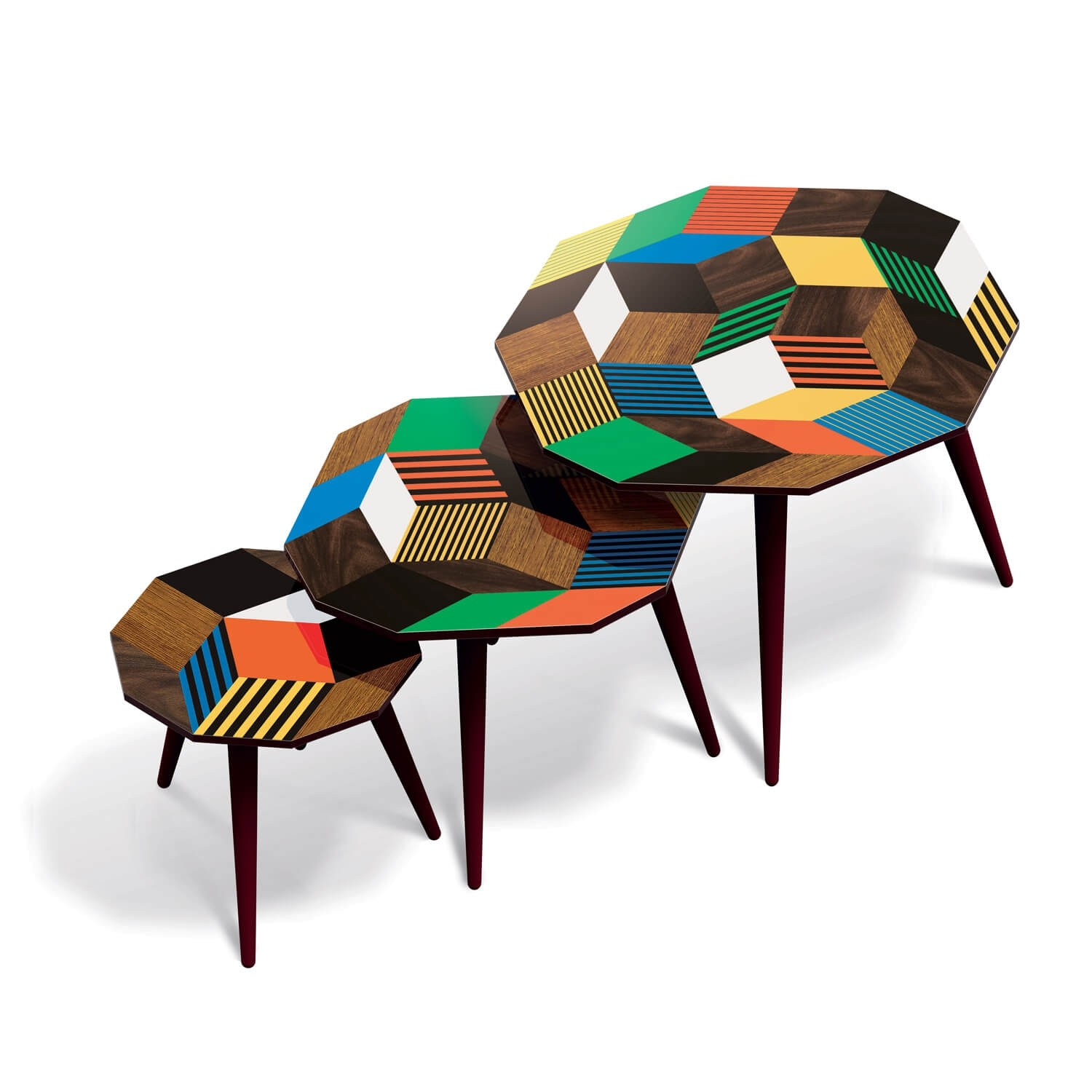 Tables basses et d'appoints gigognes, motif Penrose Crazy Wood, motif dessiné par IchetKar pour les éditions Bazartherapy