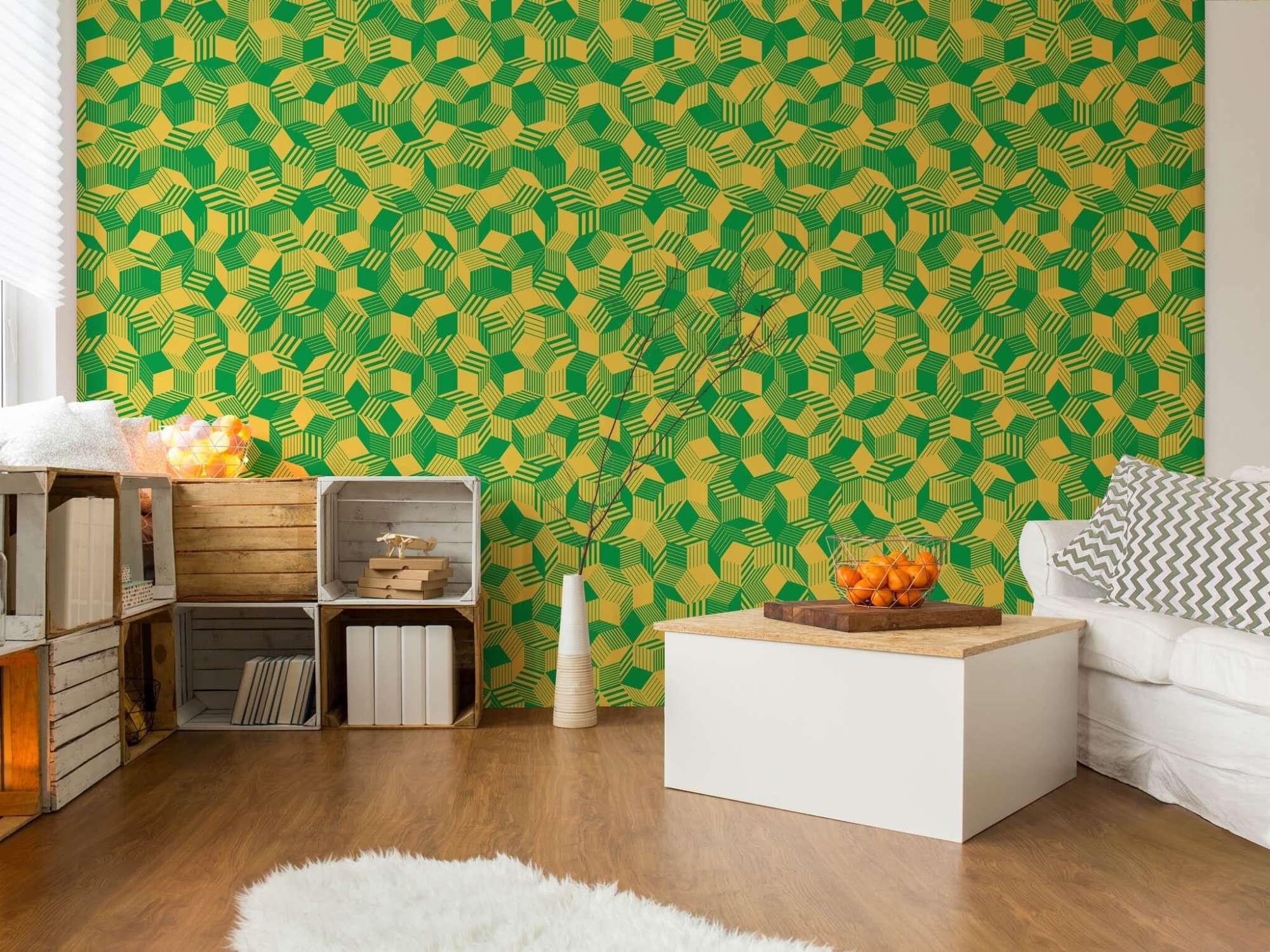 lé de papier peint avec motif géométrique penrose, collé dans une chambre, design Ichetkar.