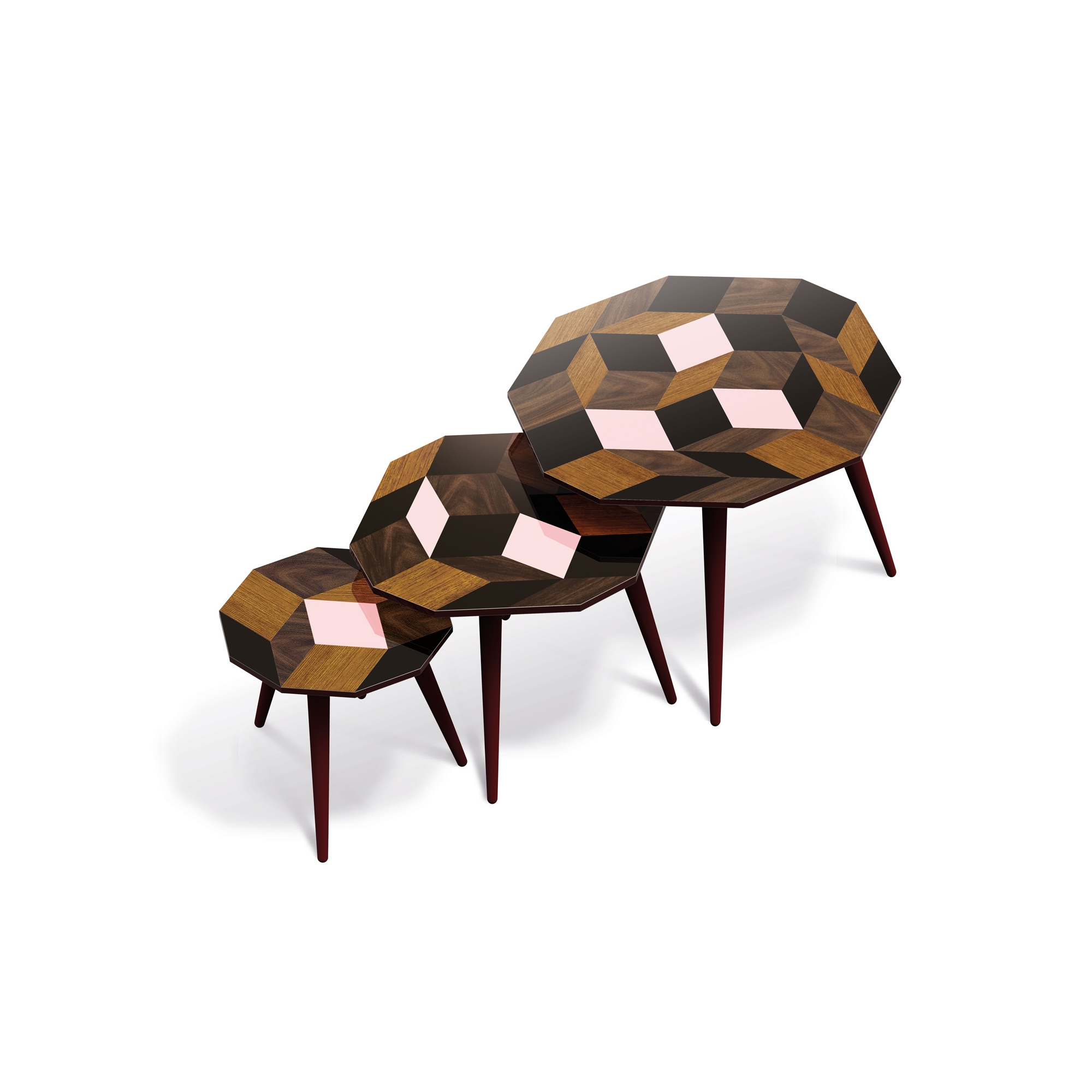 Trio de tables d'appoints, motif Penrose Spring Wood Design IchetKar édition Bazartherapy