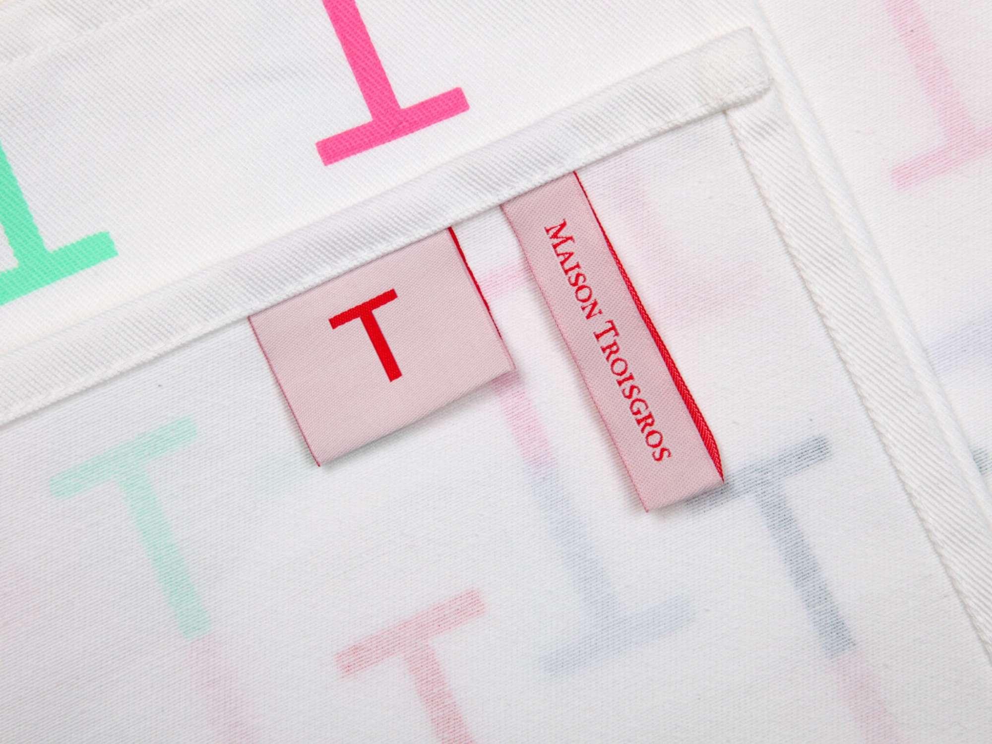 détail du torchon multicolore Ich&Kar pour La maison Troisgros