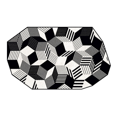 Tapis Penrose stripes black and white, fabrication française, Design IchetKar édition Bazartherapy