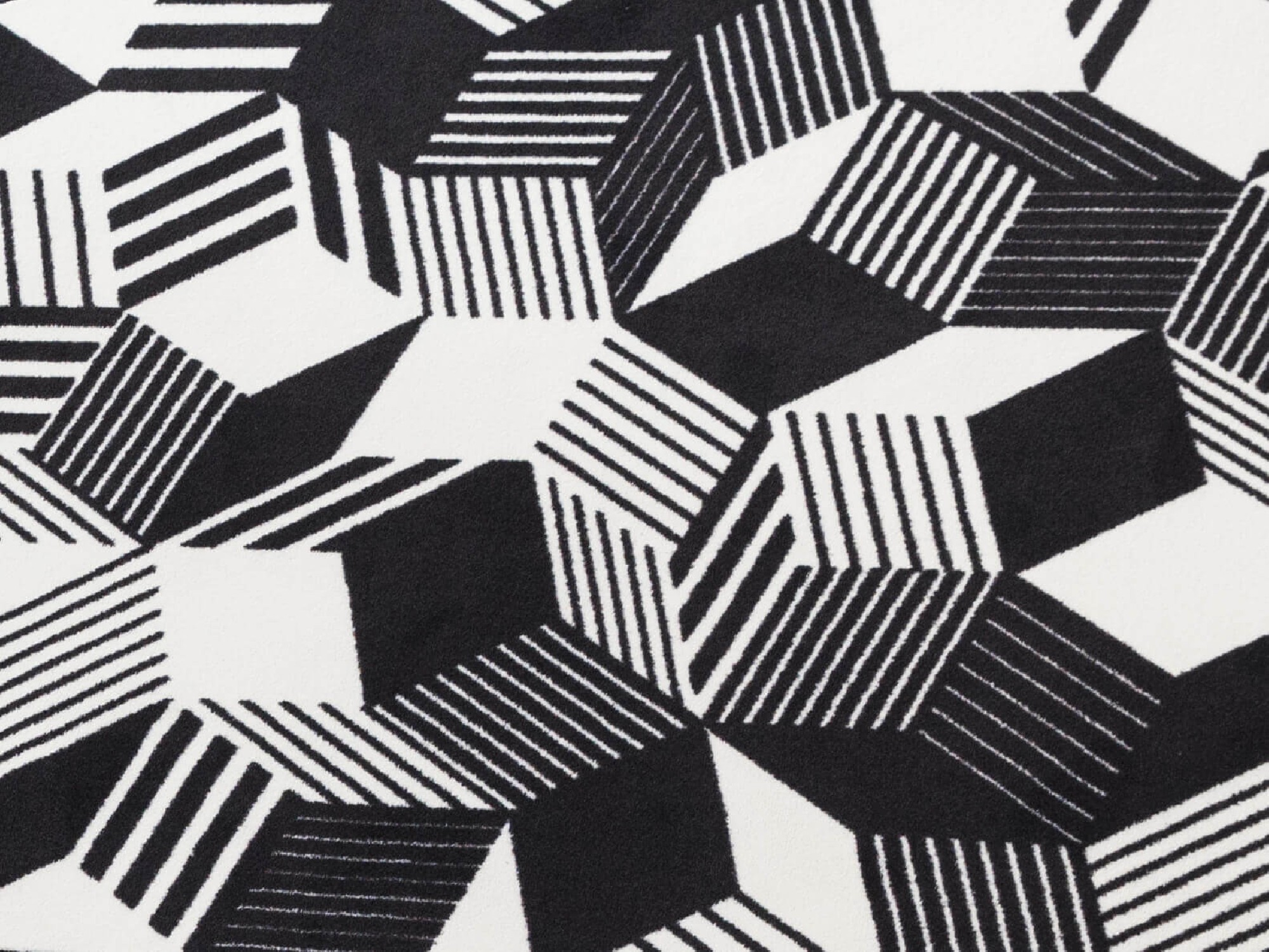 Tapis géométriques Penrose stripes black and white, details, Design IchetKar édition Bazartherapy