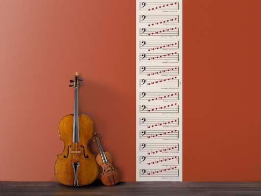 Lé de papier peint musique Clé de Fa pour apprendre et décorer votre intérieur, design IchetKar