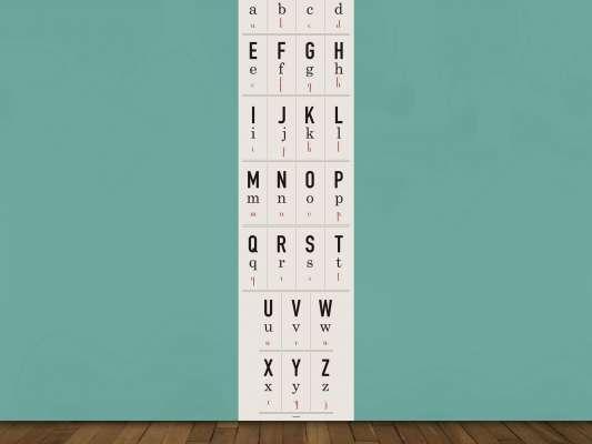Lé de papier peint pédagogique pour apprendre les lettres de l'alphabet dans sa chambre, design Ich&Kar
