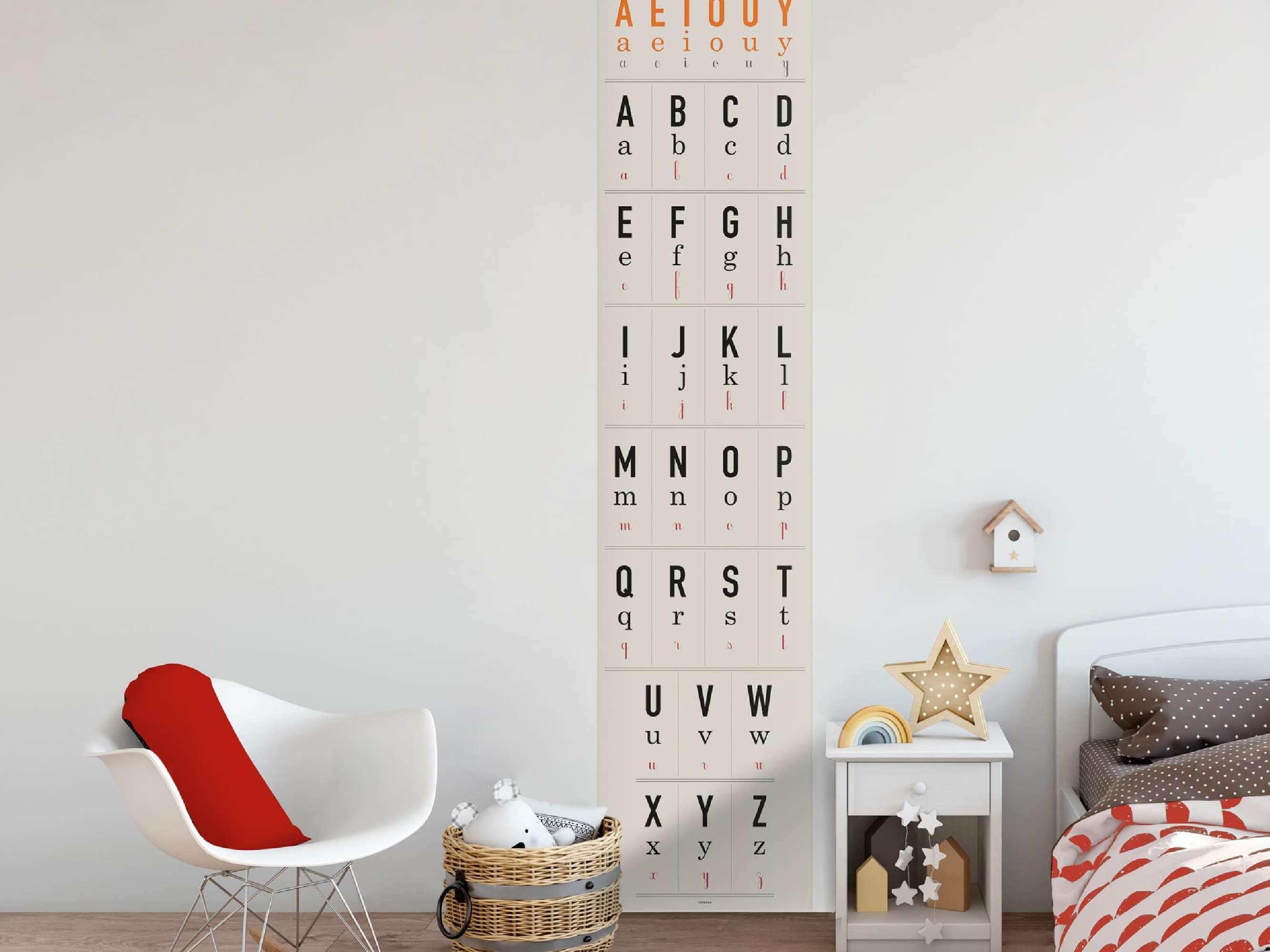 Lé de papier peint abécédaire de la collection Watch, Look and Learn idéal pour chambre d'enfant, design Ich&Kar