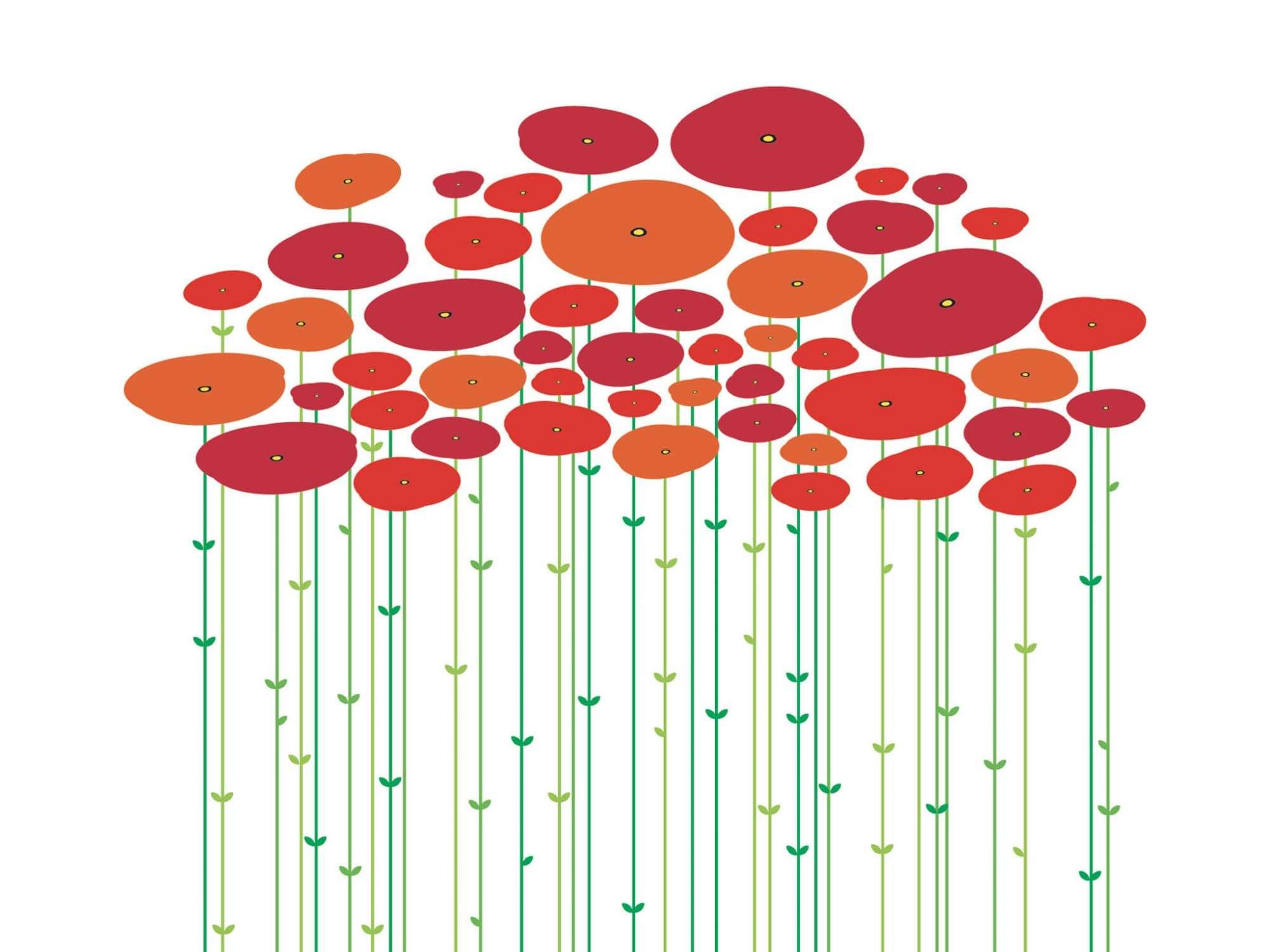 wallstickers dessinés par Ich&Kar, pluie de pétales graphiques rouges dans votre salon ou votre open space !