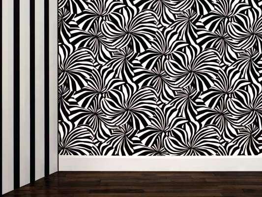 Papier peint Berlingot noir et blanc à encre phosphorescente, design IchetKar
