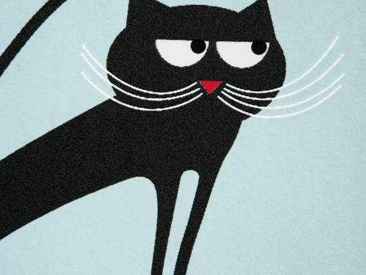 Zoom sur un chat du papier peint Cats noir et bleu. Lé décoratif pour son ou chambre, design IchetKar