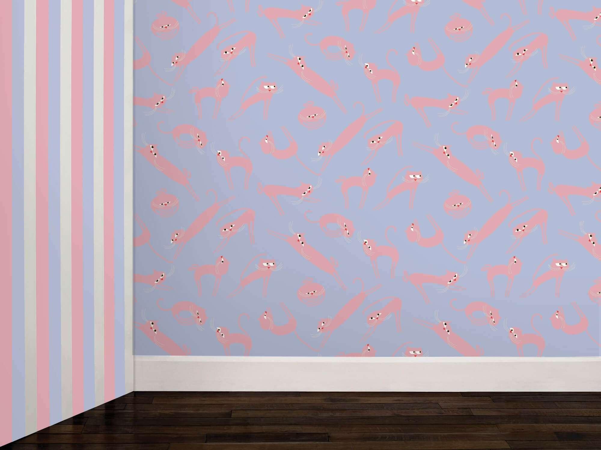 Papier peint Cats rose et bleu phosphorescent, des chats rose sur fond bleu pour la décoration, design IchetKar