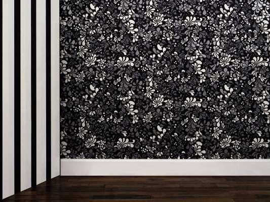 Papier peint Minipop flower gris, noir et blanc phosphorescent, design IchetKar
