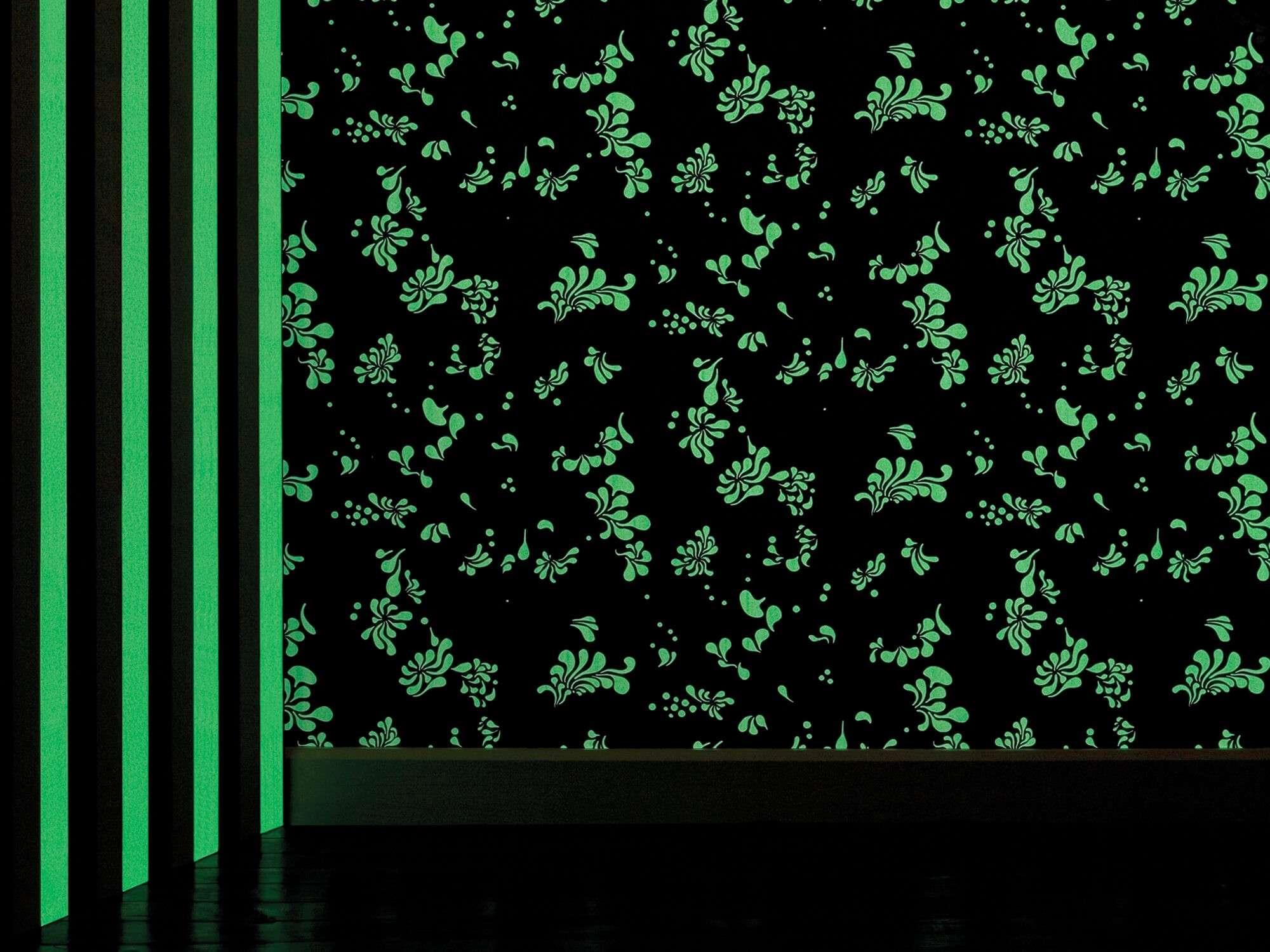 Papier peint Minipop flower phosphorescent la nuit, design IchetKar
