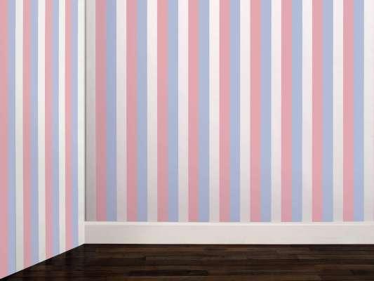 Papier peint à encre phosphorescente, ligne blanche, bleu et rose le jour, design ichetkar