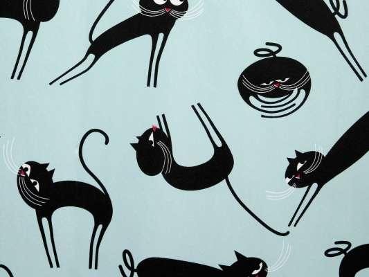 Zoom sur le Papier peint Cats noir et bleu phosphorescent, des chatons fou sur le mur, design IchetKar
