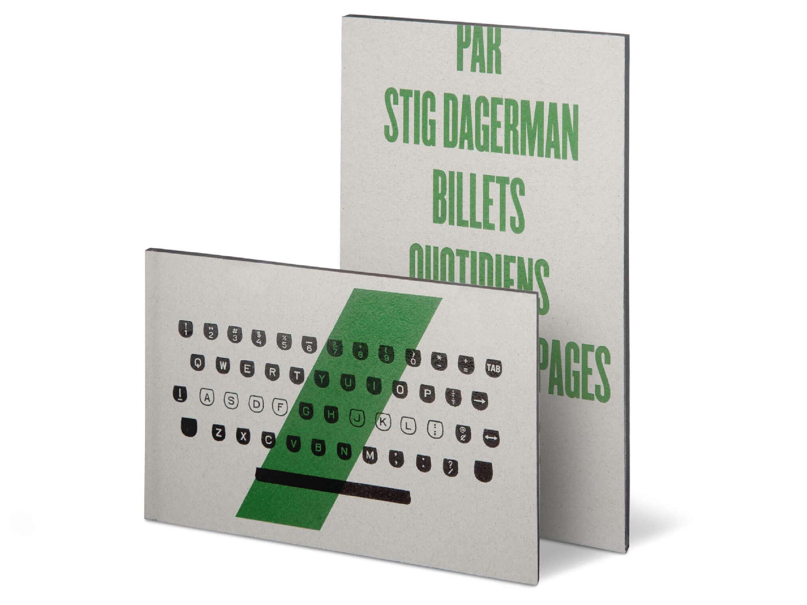 Stig Dagerman Billets quotidiens Éditions cent pages couverture clavier machine à écrire Dagerman
