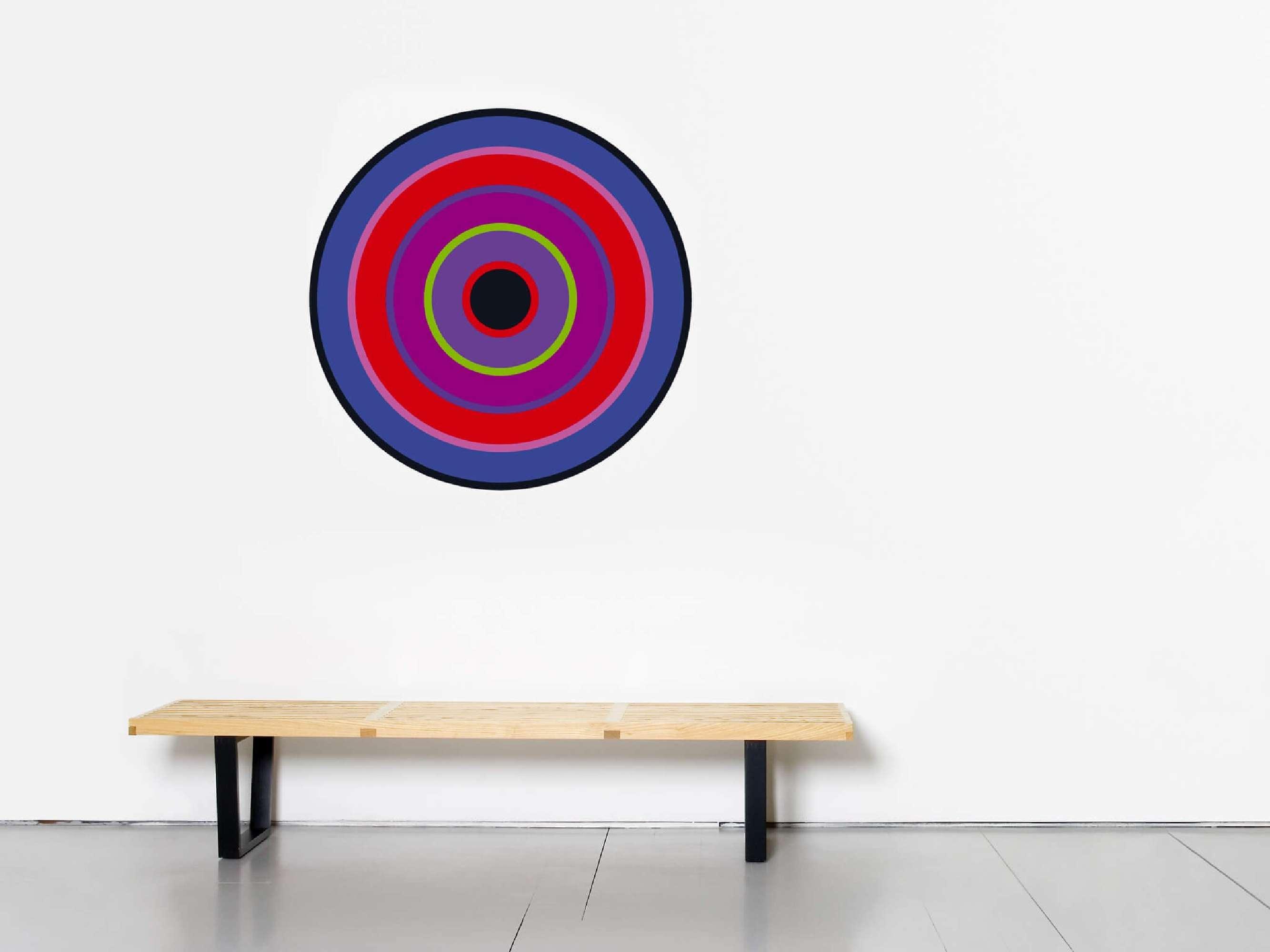 un sticker mural design en forme de cible pour donner une touche de couleur a un intérieur