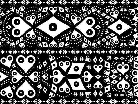 Le papier peint noir et blanc Pokerface Mariachi, habillent vos murs pour une décoration mexicaine baroque, dessiné par ichetkar
