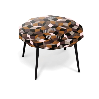 Table à manger ronde pour 4 personnes Penrose Fancy Wood pour Made in design, Designer Ich&Kar édition Bazartherapy