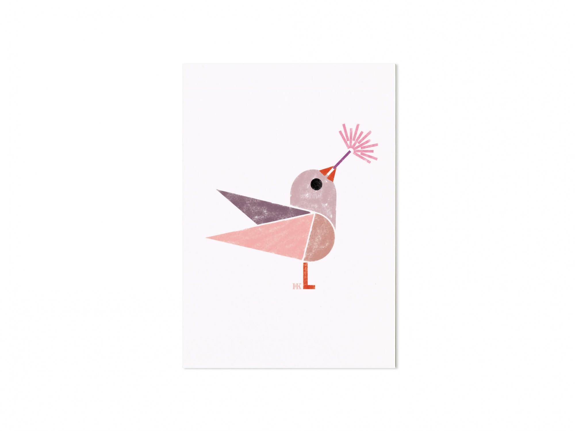 carte postale illustration birdy teinte rose pastel