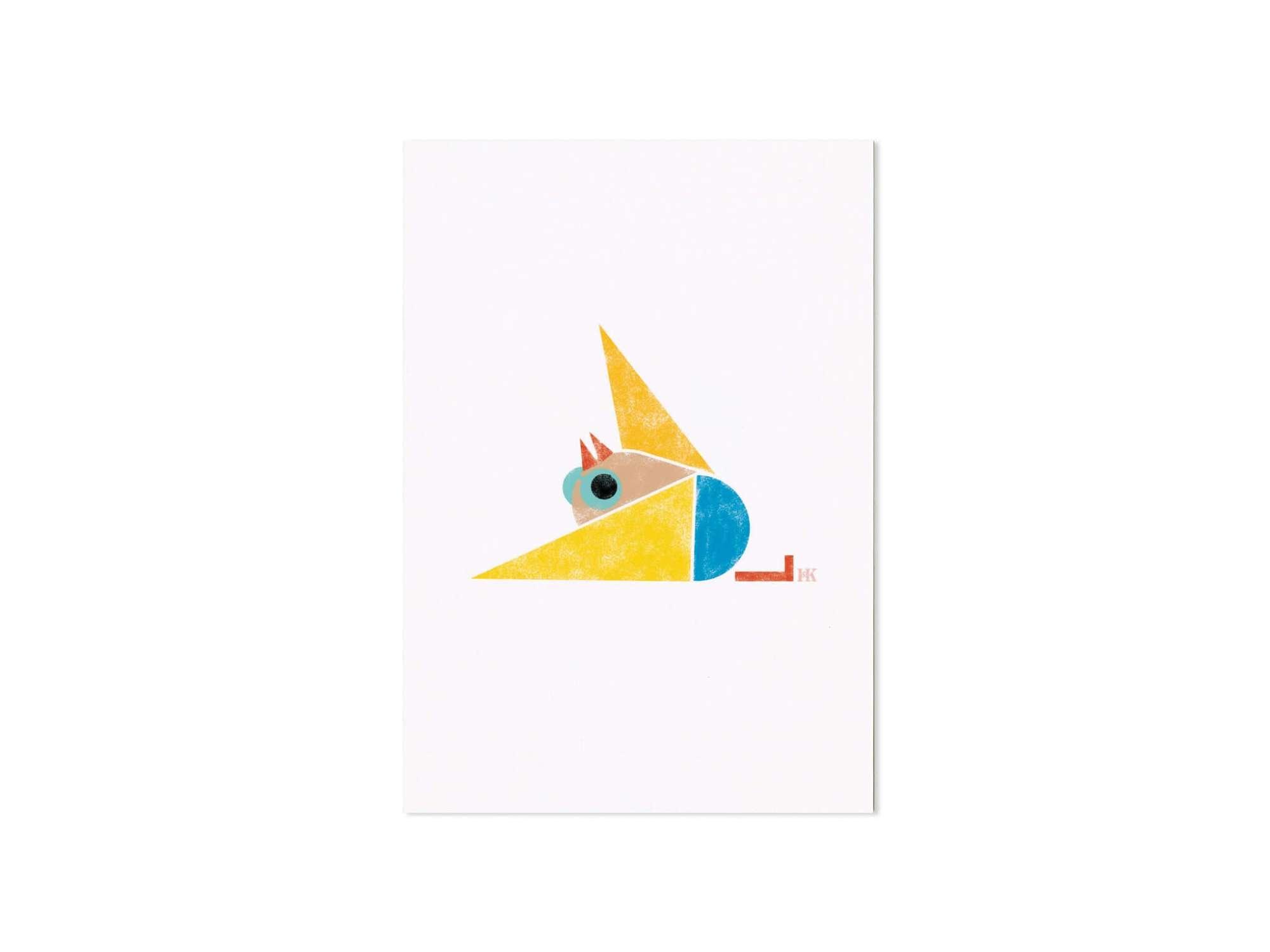 carte postale illustrée d'un petit oiseau a la piscine , design Ich&Kar