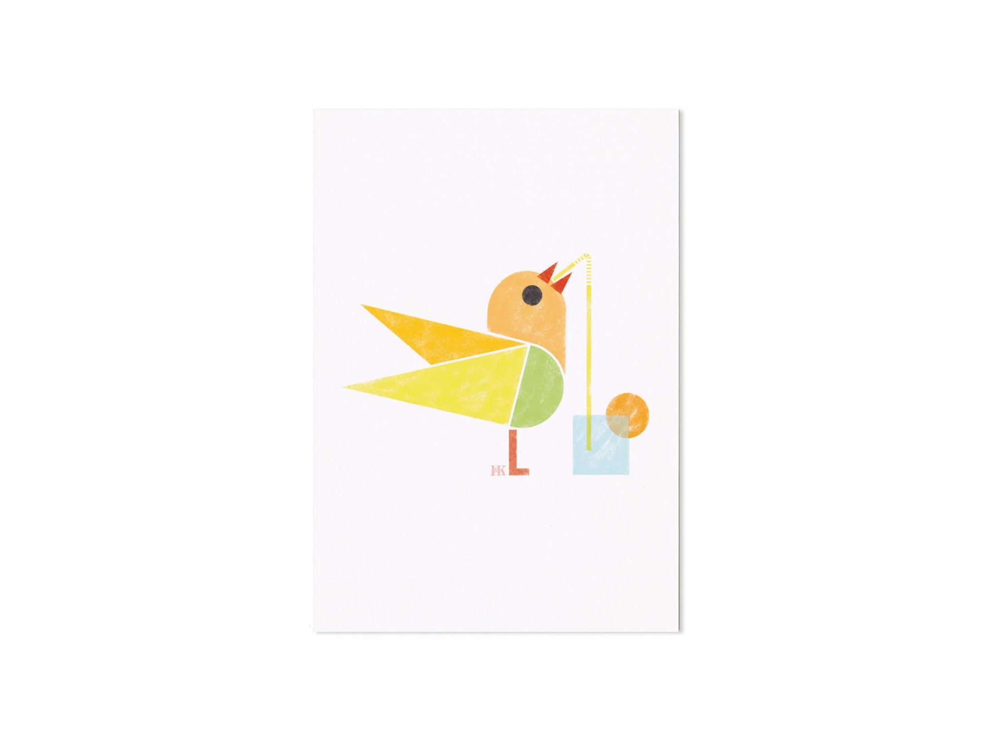 carte postale illustrée d'un petit oiseau avec un cocktail , design Ich&Kar
