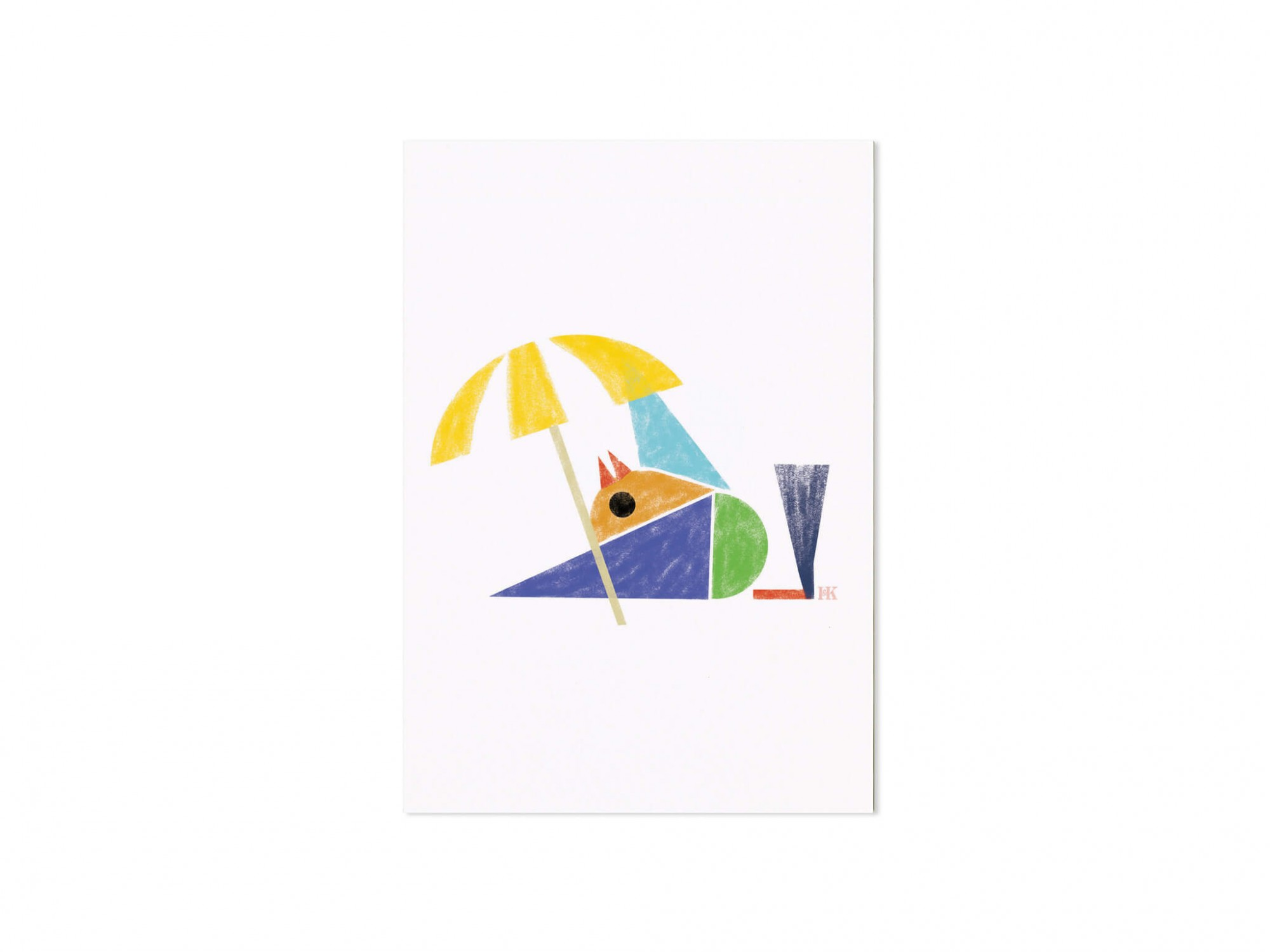 carte postale illustrée d'un petit oiseau en vacance , design Ich&Kar