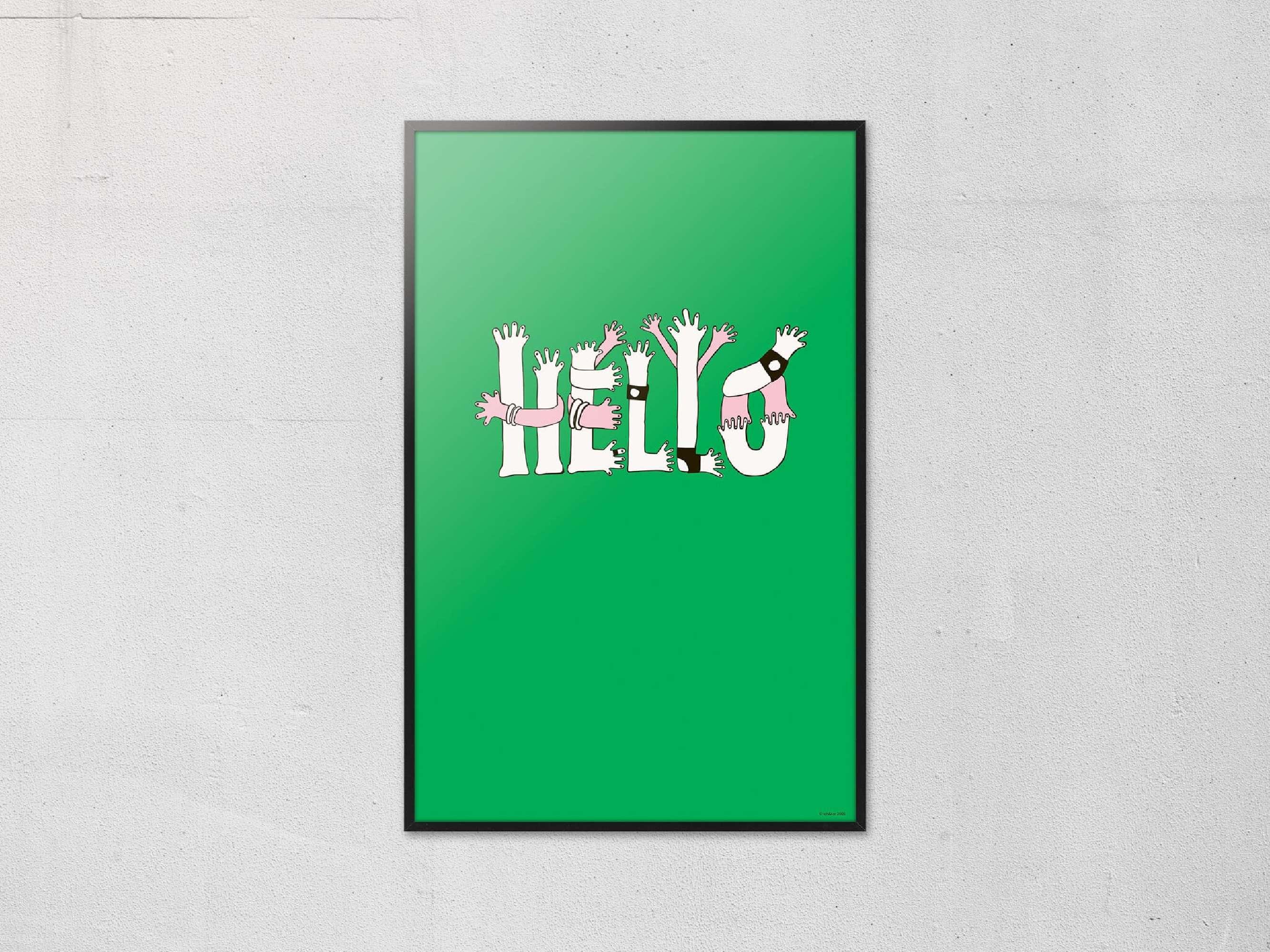 Le poster Hello, dessiné pour la première fois pour le Teknikart Japon