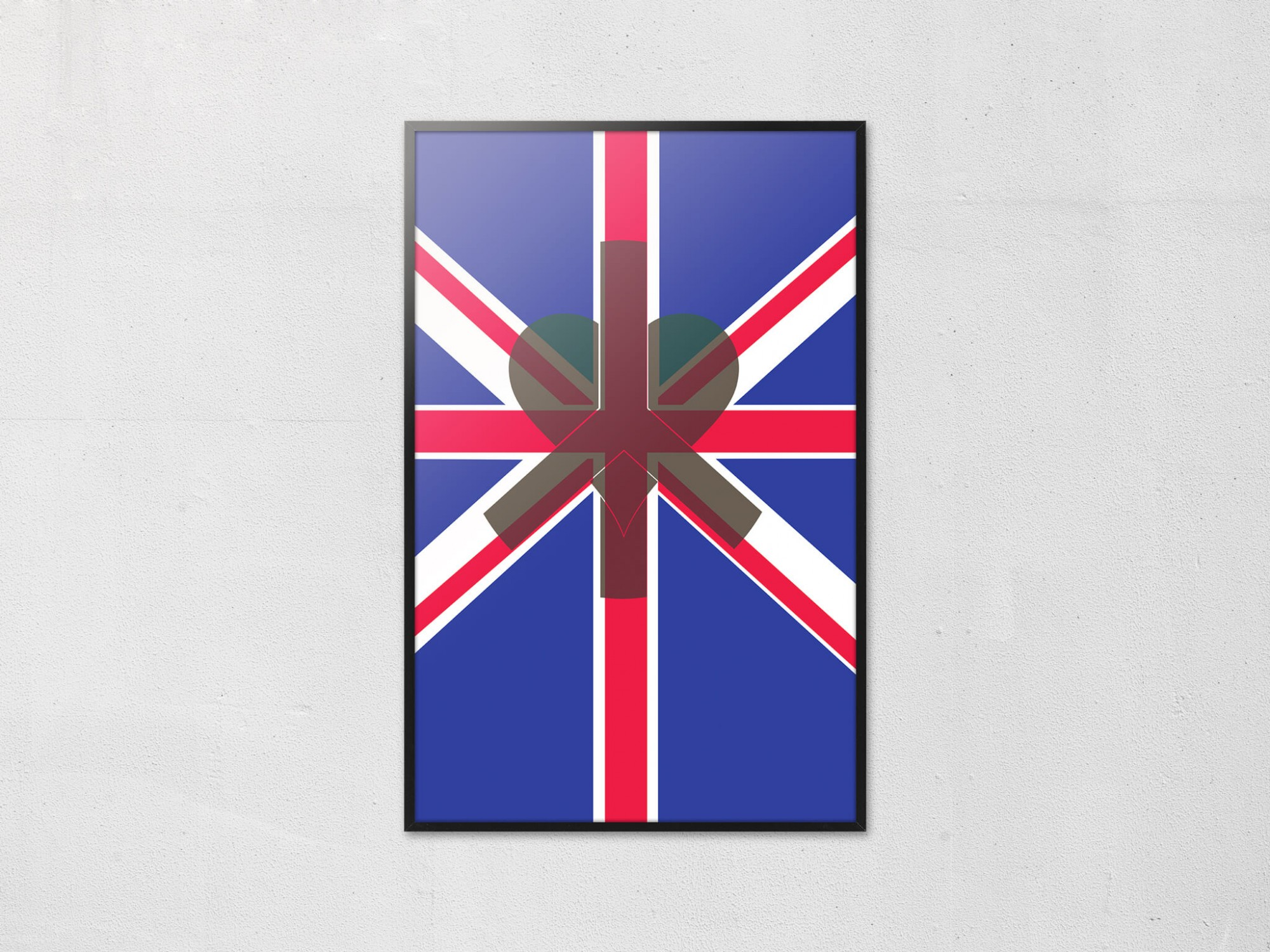 L'affiche Peace in the Uk, Union Jack et le symbole Peace and love associé ensemble, design Ich&Kar