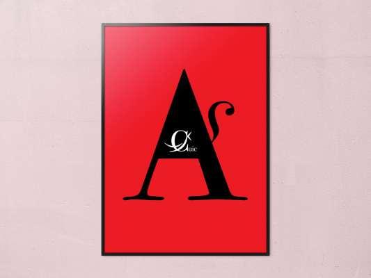 Affiche de la lettrine A, extrait du livre mots animaux, les lettrines animales s'affichent au murs