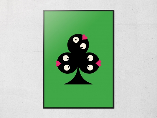 Affiche trèfle de la collection pokerface dessiné par Ichetkar.