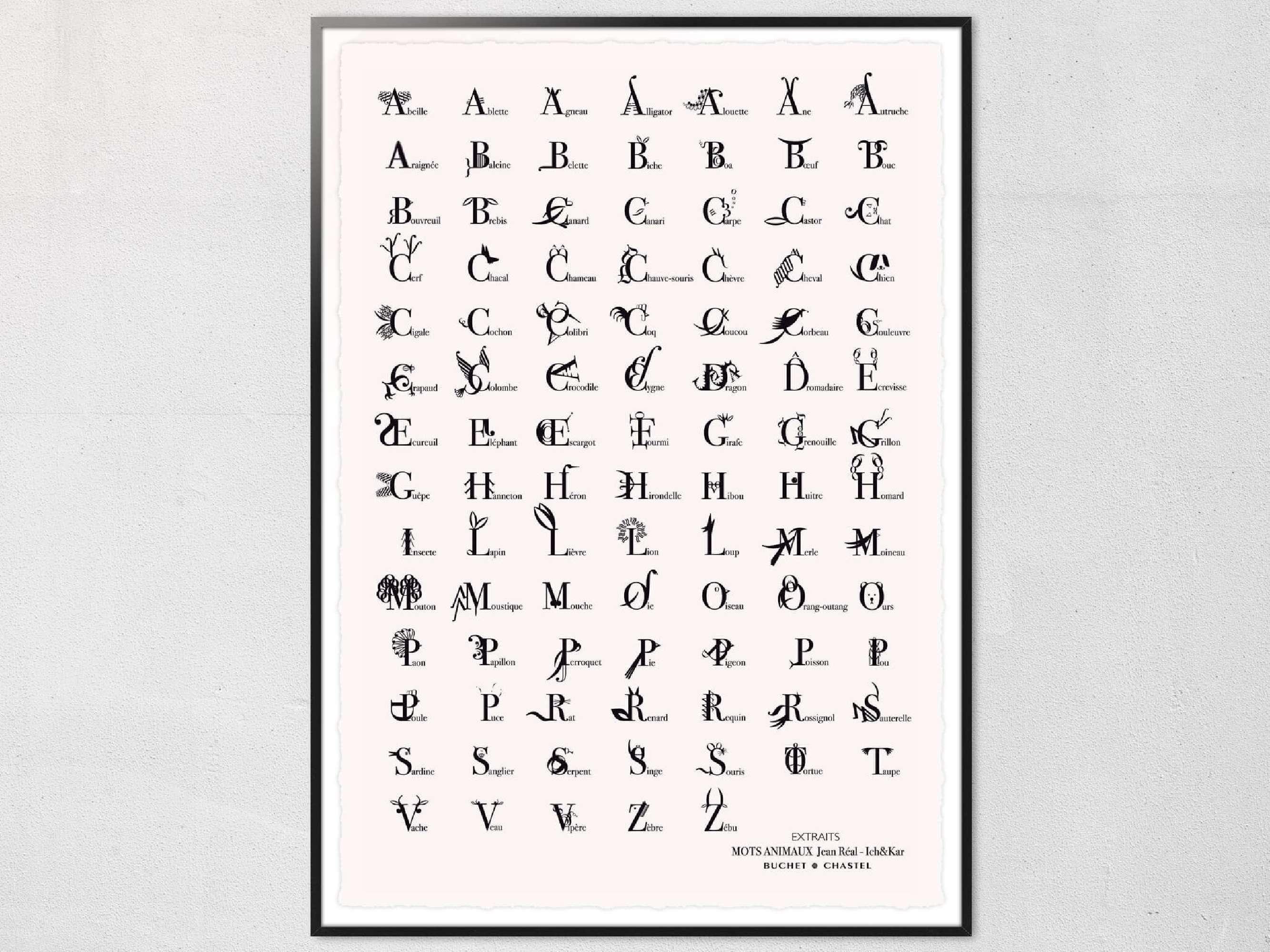 Affiche lettrine Mots Animaux en edition limitée sur papier luxe.
