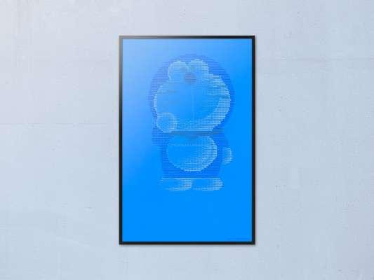 Une affiche à la gloire de Doraemon, du ASCII Art, symbole et lettres en typographie informatique pour le chat robot.