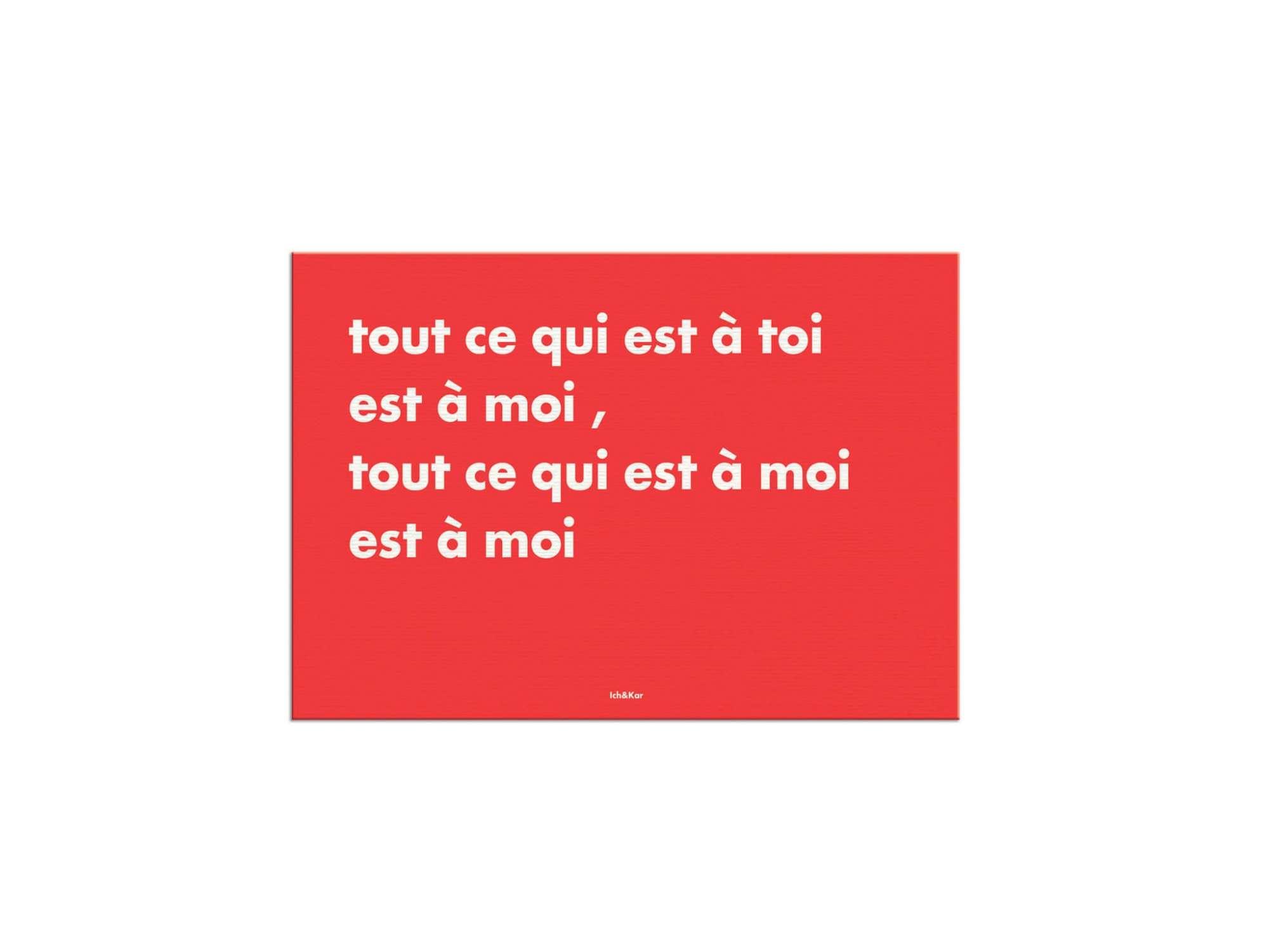 """carte postale rouge typographique Ichetkar """"tout ce qui est à toi est à moi"""""""