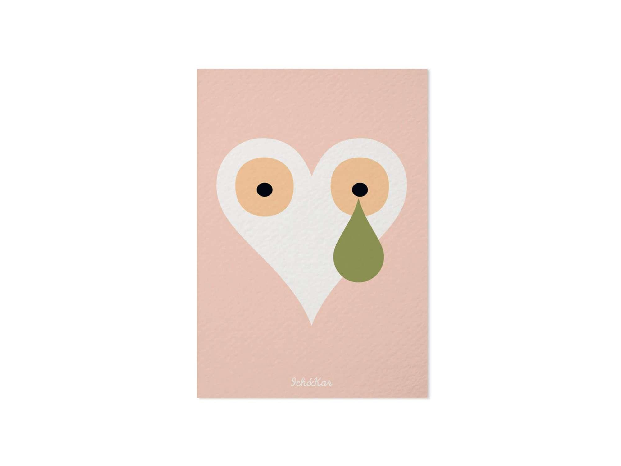 carte illustrée du coeur icône du studio Ich&kar rose poudré et kaki,