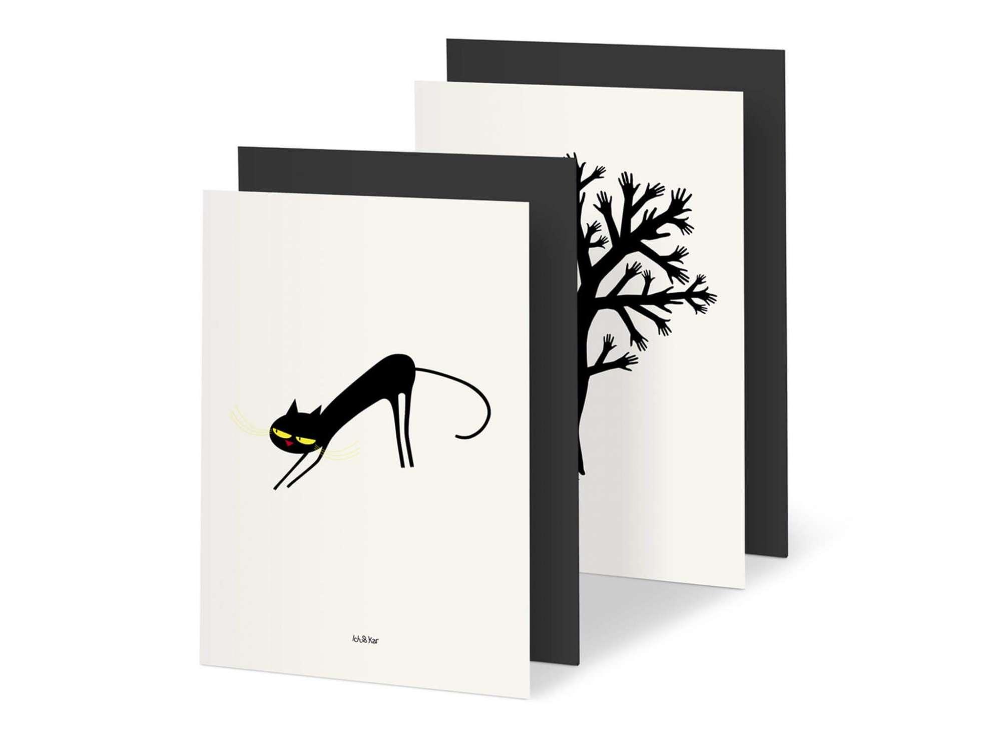 deux illustrations du répertoire d'Ich&Kar, accompagnées de leurs enveloppes noires assorties