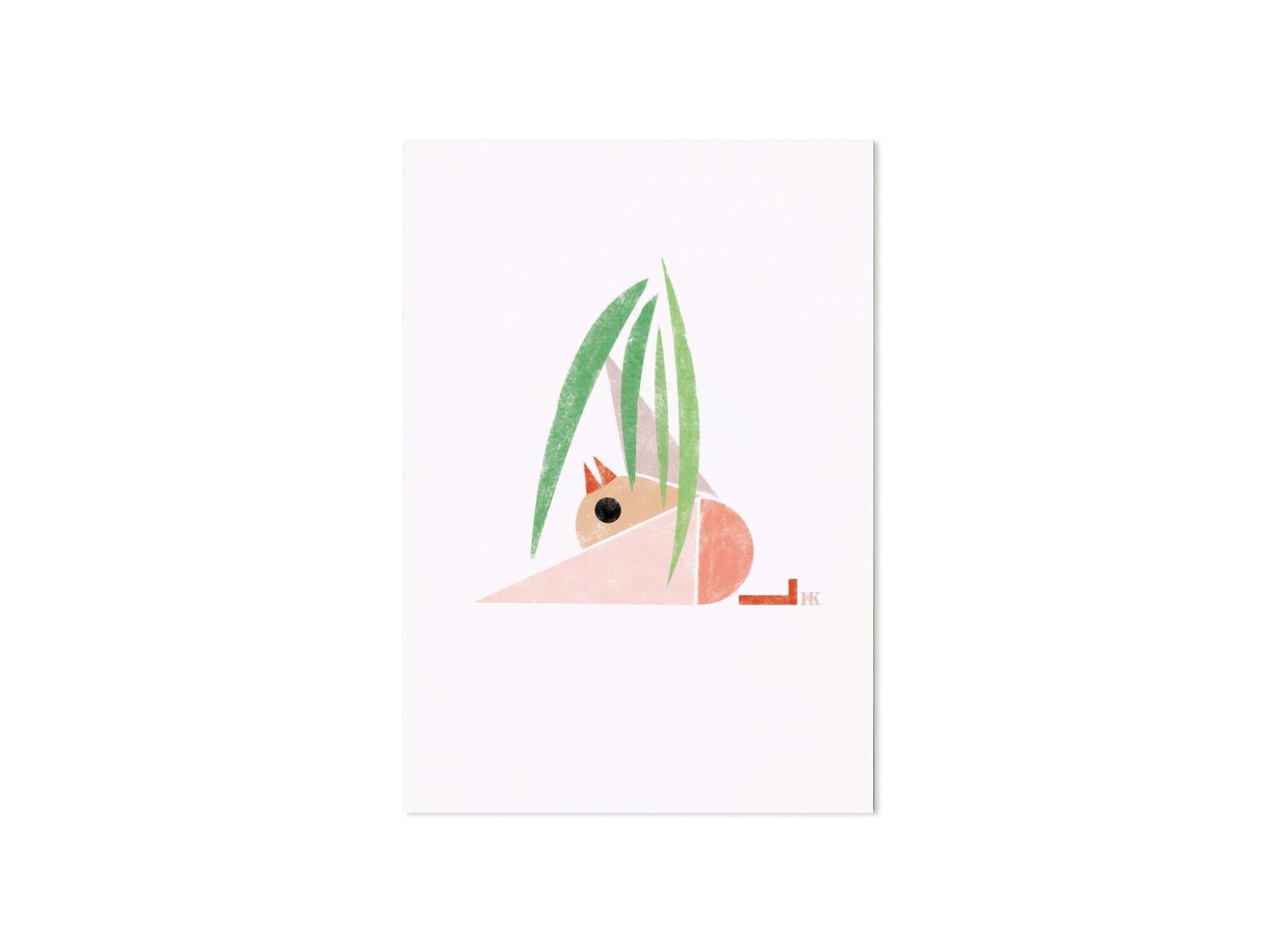 carte postale illustrée d'un petit oiseau relax, design Ich&Kar