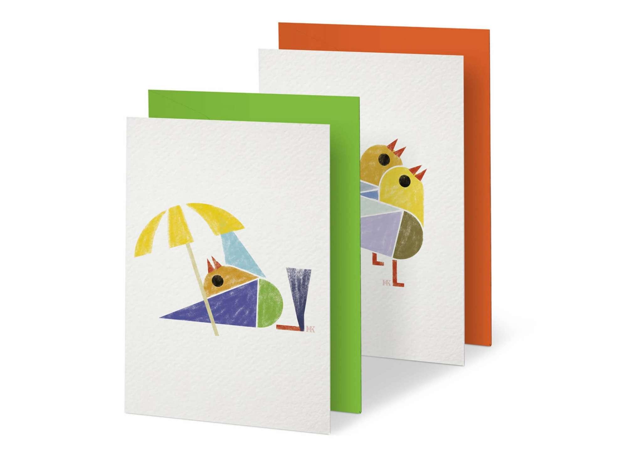 Ich&Kar dessine une série de cartes illustrées de petits oiseaux.