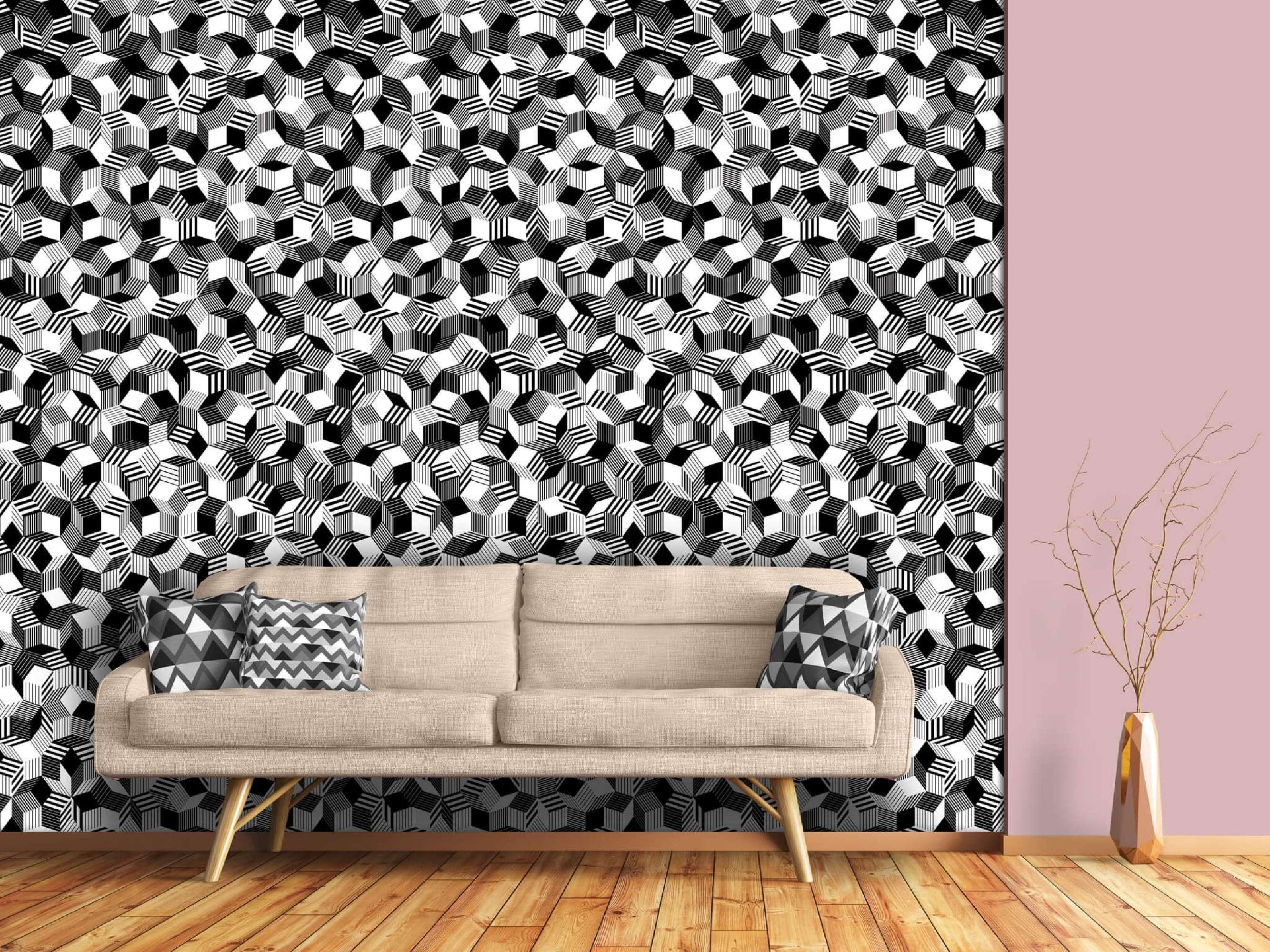 Bande Papier Peint Salon papier peint penrose black stripes
